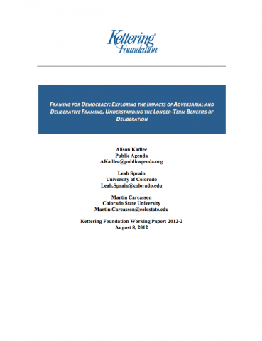 Framing for Democracy: Exploring the Impacts of Adversarial and ...